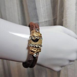 Gold tone, Leather bracelet